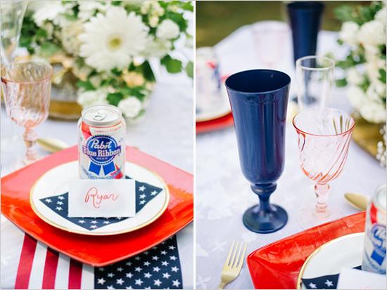 2. Amerikaanse bruiloft. inspiratie tafelindeling borden glazen