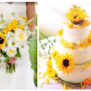 zonnebloemen en korenschoven op je bruiloft