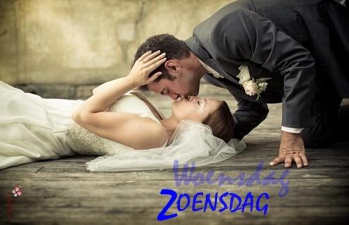 Bruid en Bruidegom zoenen